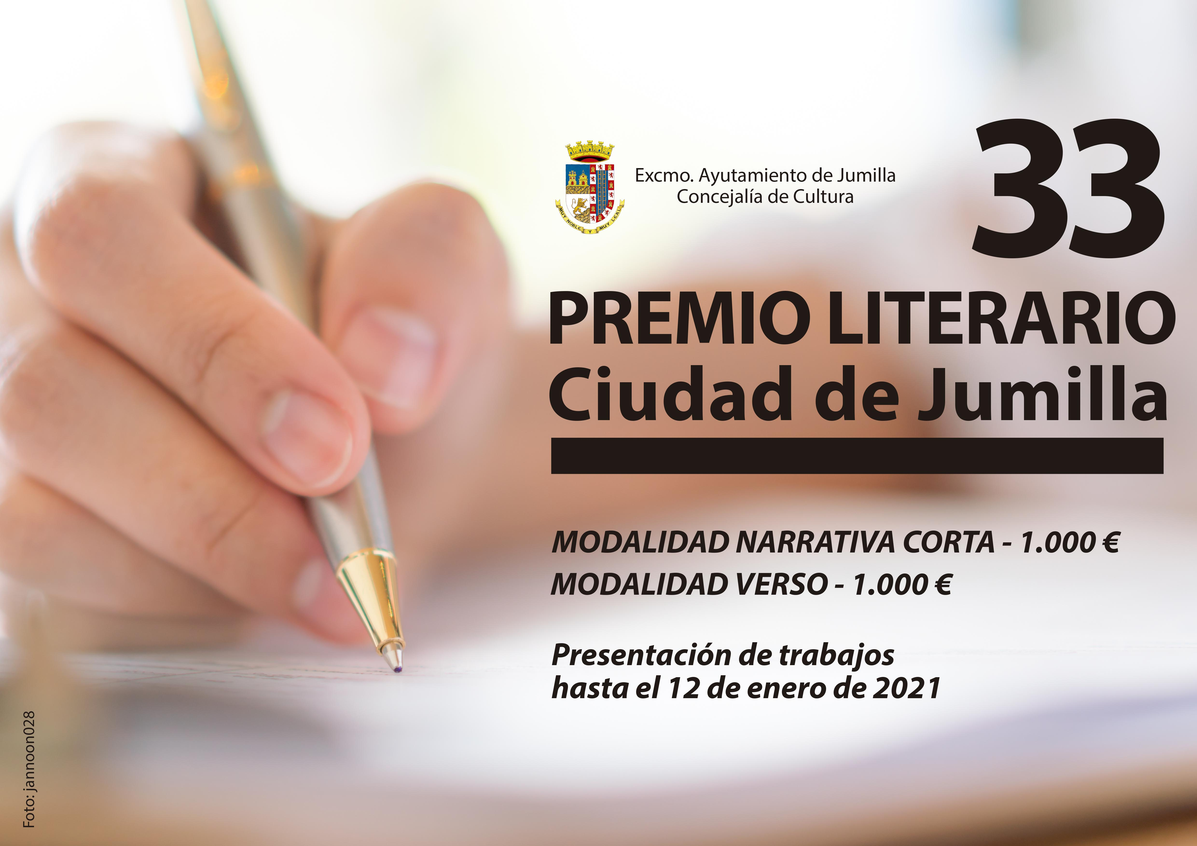 33 PREMIO LITERARIO CIUDAD DE JUMILLA. Sale del sitio www.jumilla.org